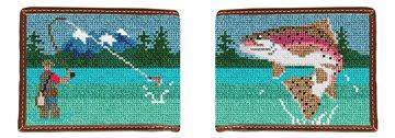 Fly Fishing Landscape Needlepoint Wallet