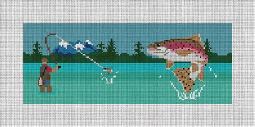 Fly Fishing Landscape Needlepoint Wallet Canvas