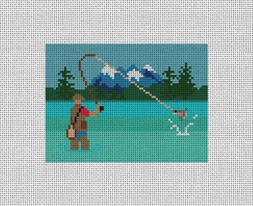 Fly Fishing Needlepoint Card Wallet Canvas