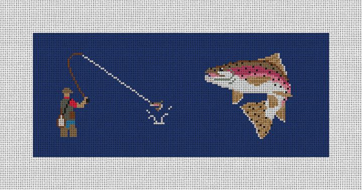 Fly Fishing Needlepoint Flask Canvas