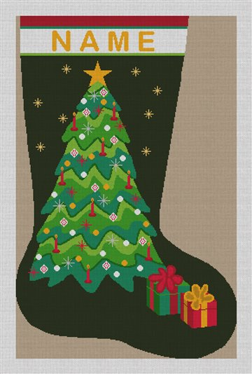 Forever Green Needlepoint Stocking Canvas