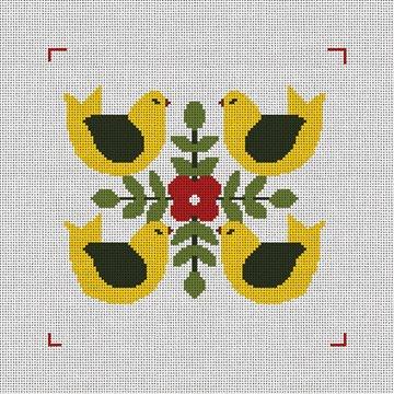 Four Calling Birds Needlepoint Canvas