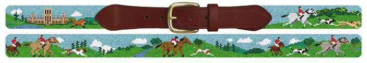 Fox Hunting Needlepoint Belt