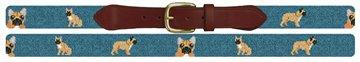 French Bulldog Needlepoint Belt