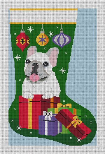 French Bulldog Stocking Needlepoint Canvas