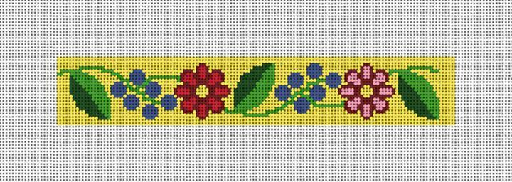 Fresh Floral Needlepoint Key Fob Canvas