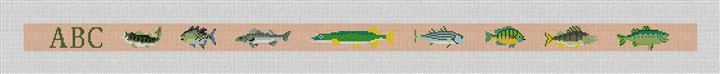 Freshwater Fishing Needlepoint Belt Canvas