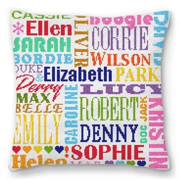 Fun Family Names Needlepoint Pillow