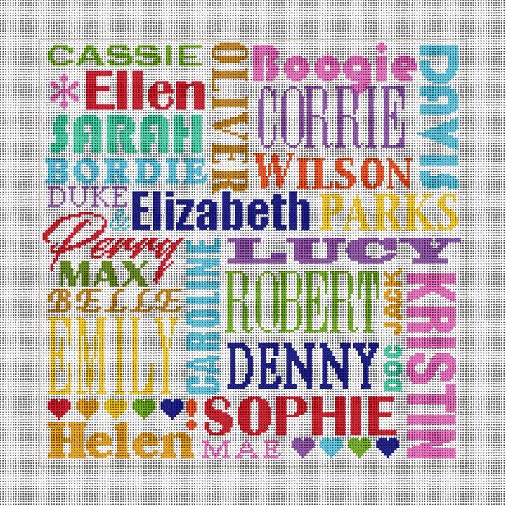 Fun Family Names Needlepoint Pillow Canvas