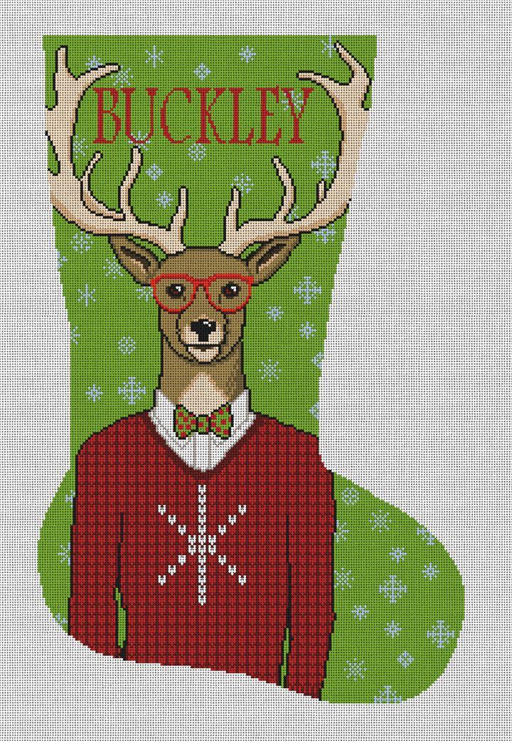 Gentleman Buck Needlepoint Stocking Canvas