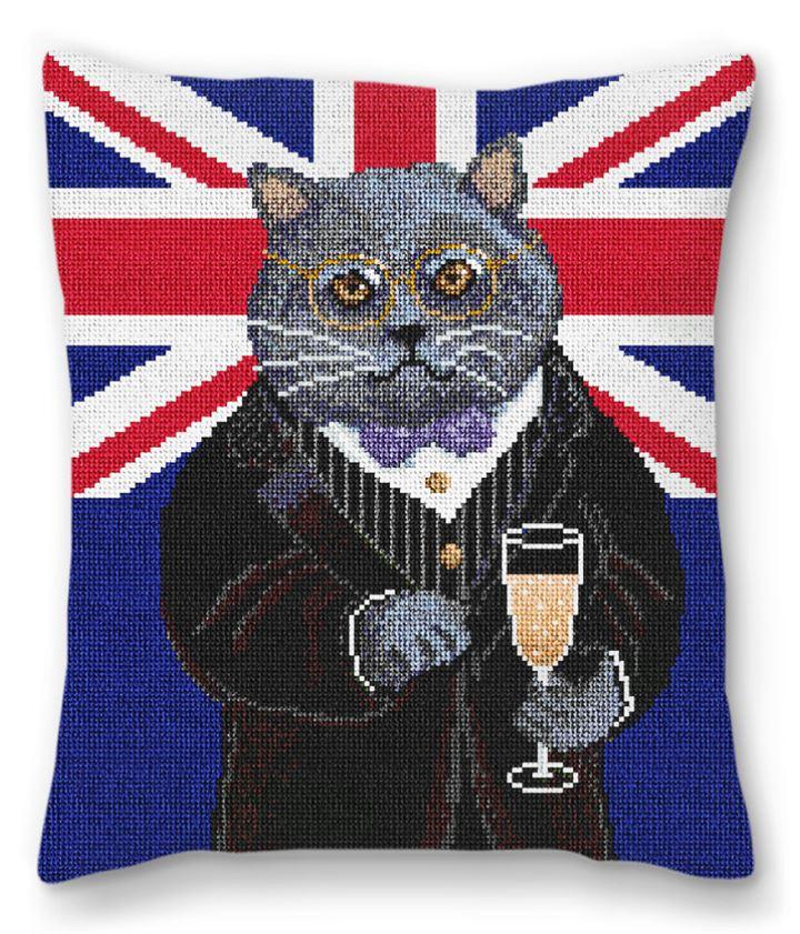 Gentleman Cat Needlepoint Pillow