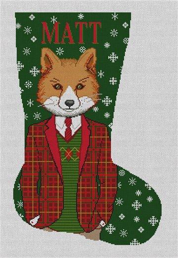 Gentleman Fox Needlepoint Stocking Canvas