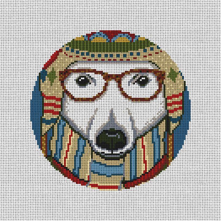 Gentleman Polar Bear Needlepoint Ornament Canvas