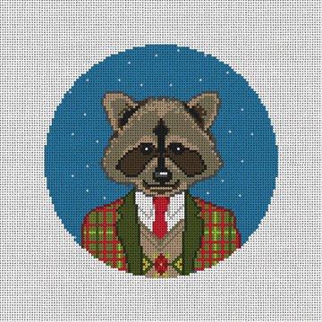 Gentleman Raccoon Needlepoint Ornament Canvas
