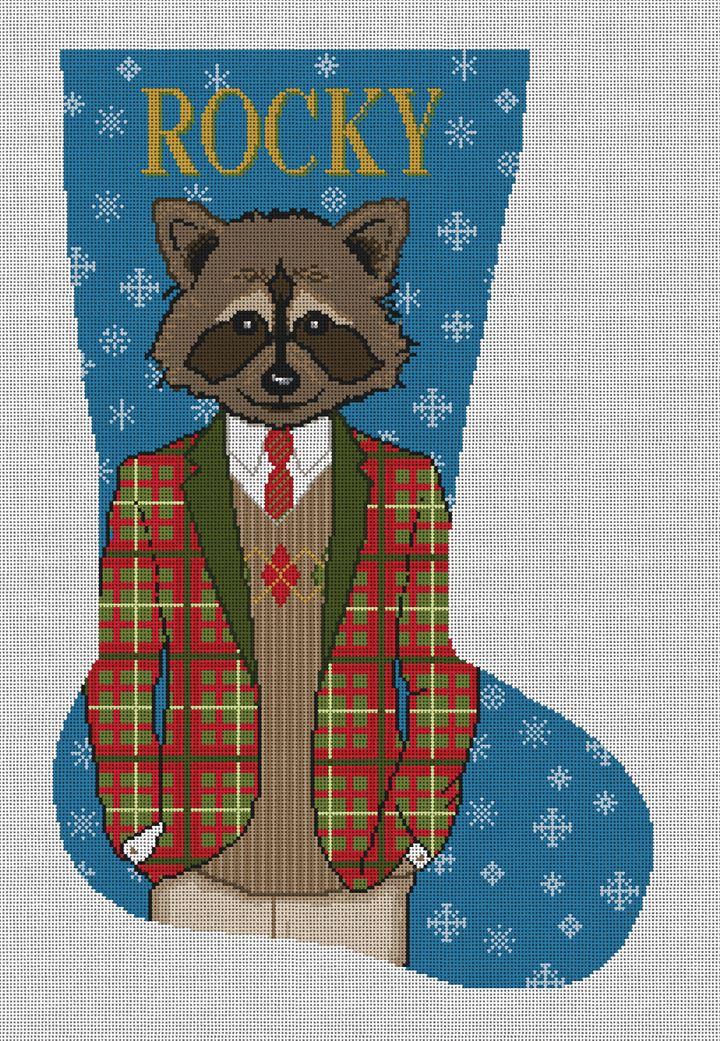 Gentleman Raccoon Needlepoint Stocking Canvas