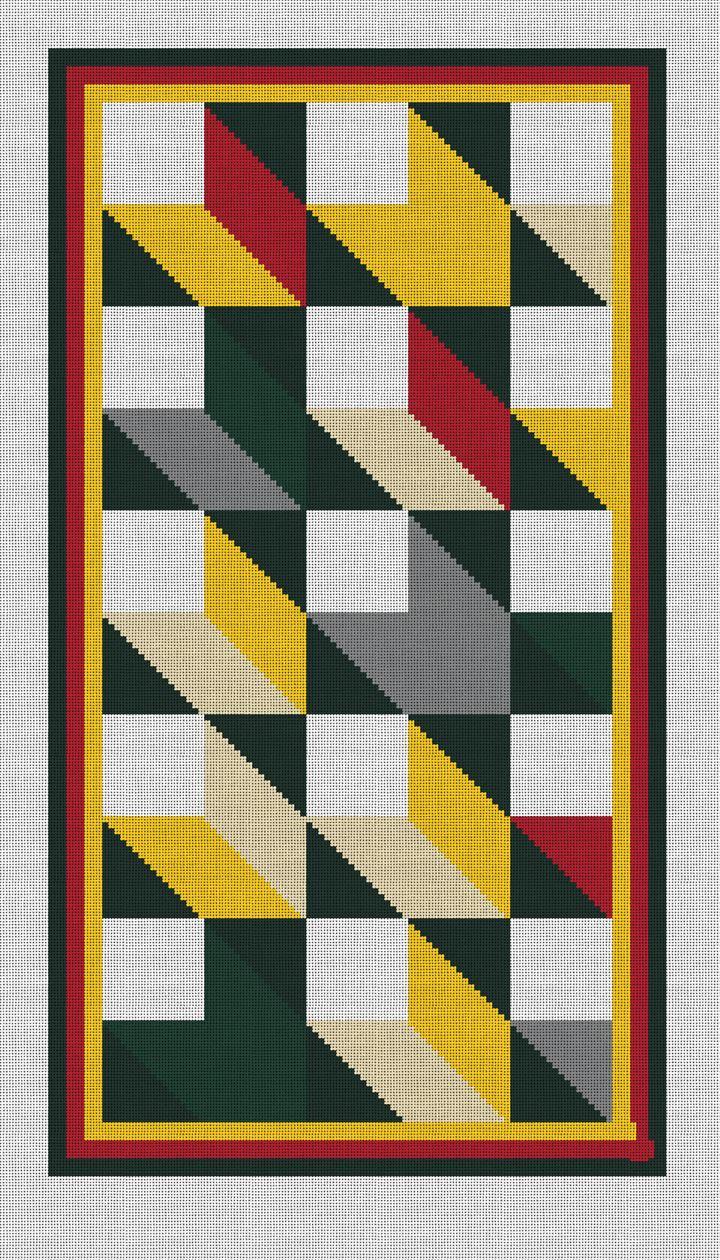 Geometric Mosaic Rug Needlepoint Canvas