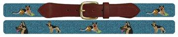 German Shepherd Needlepoint Belt