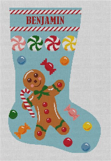 Gingerbread Man Blue Stocking Needlepoint Canvas