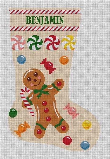 Gingerbread Man Tan Stocking Needlepoint Canvas