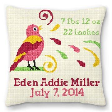 Girls Bird Bath Birth Announcement Needlepoint Pillow