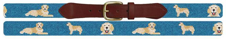 Golden Retriever Needlepoint Belt