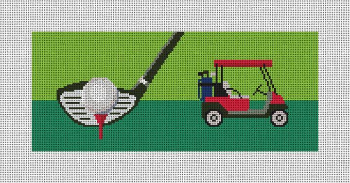 Golf Needlepoint Flask Canvas