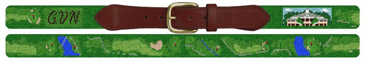 Governors Club Golf Course Needlepoint Belt