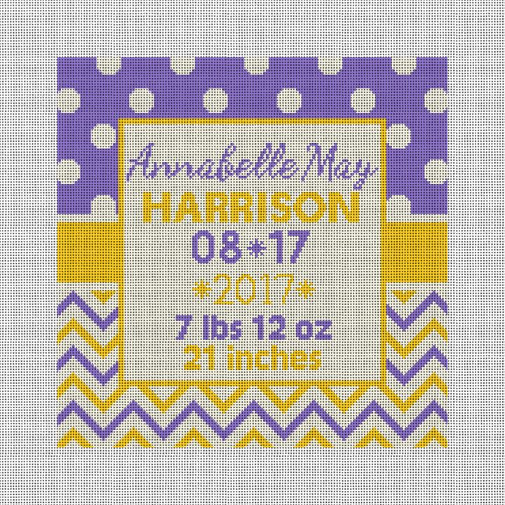 Graphic Baby Announcement Needlepoint Canvas