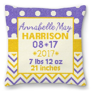 Graphic Baby Announcement Needlepoint Pillow