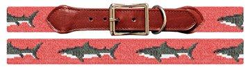Great White Shark Needlepoint Dog Collar