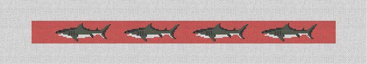 Great White Shark Needlepoint Dog Collar Canvas
