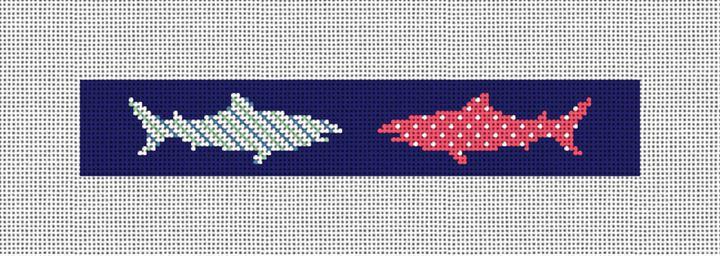 Great White Shark Needlepoint Key Fob Canvas