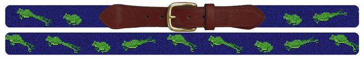 Green Frog Needlepoint Belt