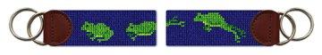 Green Frog Needlepoint Key Fob