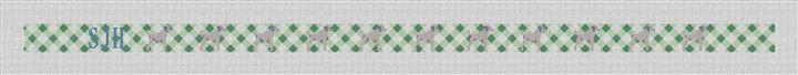 Green Gingham Dog Needlepoint Belt Canvas