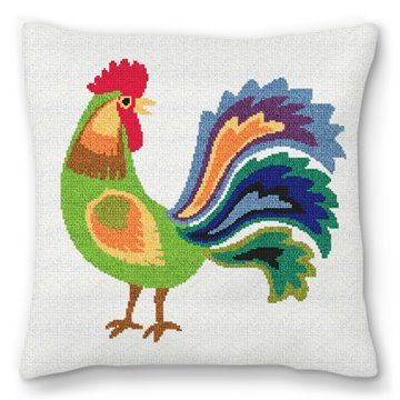Green Rooster Needlepoint Pillow