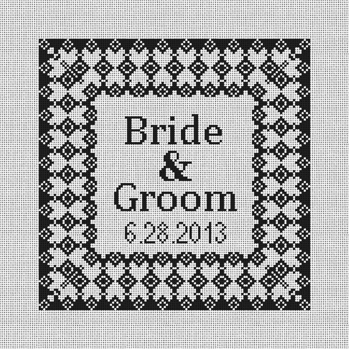 Grenelle Needlepoint Wedding Ring Pillow Canvas