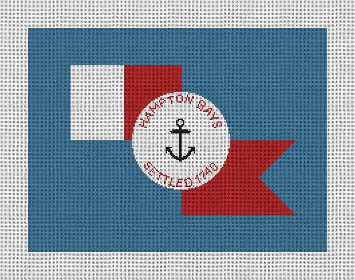 Hampton Bays Flag Needlepoint Pillow Canvas