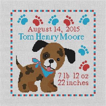 Happy Puppy Birth Announcement Needlepoint Kit