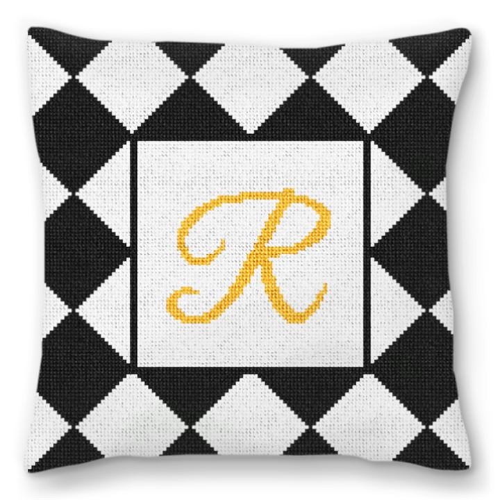 Harlequin Wedding Needlepoint Pillow