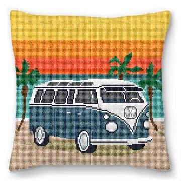 Hippie Van Needlepoint Pillow