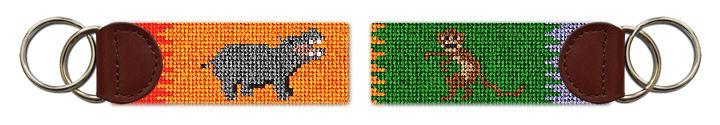 Hippo and Monkey Safari Needlepoint Key Fob