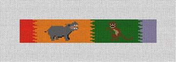 Hippo and Monkey Safari Needlepoint Key Fob Canvas