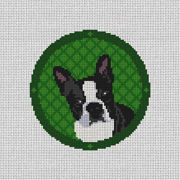 Holiday Boston Terrier Needlepoint Ornament Canvas