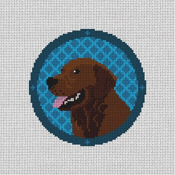 Holiday Chocolate Lab Needlepoint Ornament Canvas
