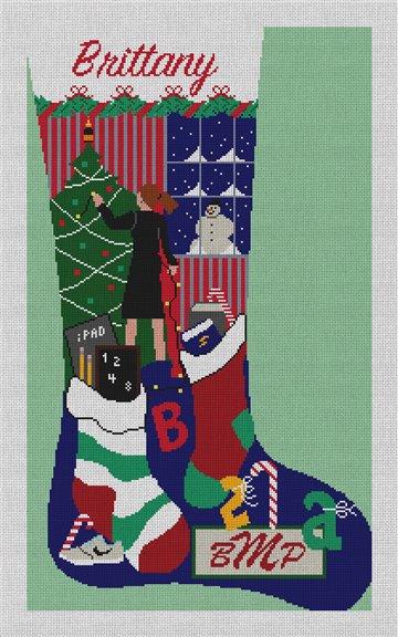 Holiday Decorating Stocking Needlepoint Canvas