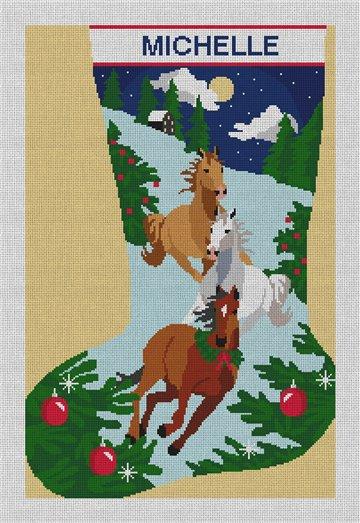 Holiday Horses Needlepoint Stocking Canvas
