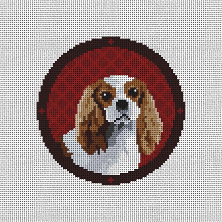 Holiday King Charles Needlepoint Ornament Canvas