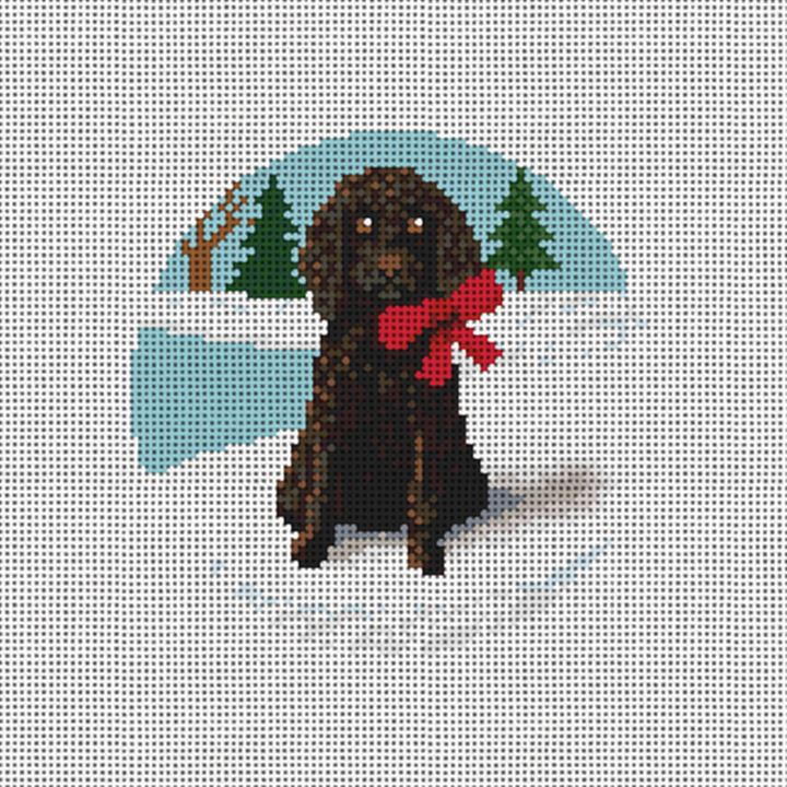 Holiday Poodle Needlepoint Ornament Canvas