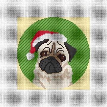 Holiday Pug Needlepoint Ornament Canvas